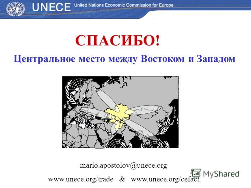 СПАСИБО! mario.apostolov@unece.org www.unece.org/trade & www.unece.org/cefact Центральное место между Востоком и Западом