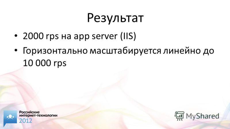 Результат 2000 rps на app server (IIS) Горизонтально масштабируется линейно до 10 000 rps