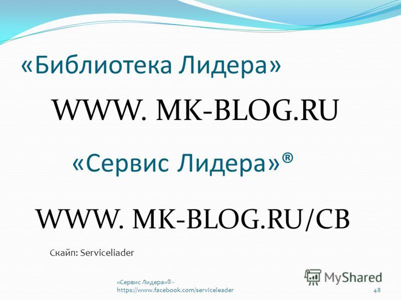 «Библиотека Лидера» WWW. MK-BLOG.RU «Сервис Лидера»® WWW. MK-BLOG.RU/CB Скайп: Serviceliader «Сервис Лидера»® - https://www.facebook.com/serviceleader48