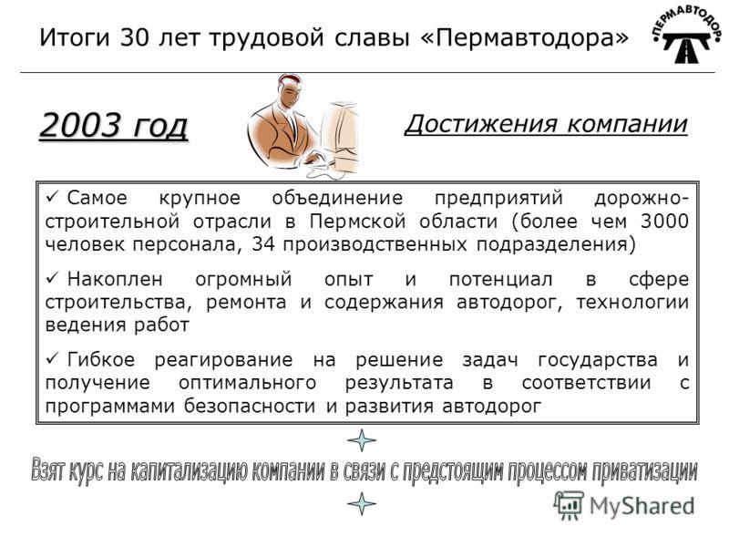 Самое крупное объединение предприятий дорожно- строительной отрасли в Пермской области (более чем 3000 человек персонала, 34 производственных подразделения) Накоплен огромный опыт и потенциал в сфере строительства, ремонта и содержания автодорог, тех