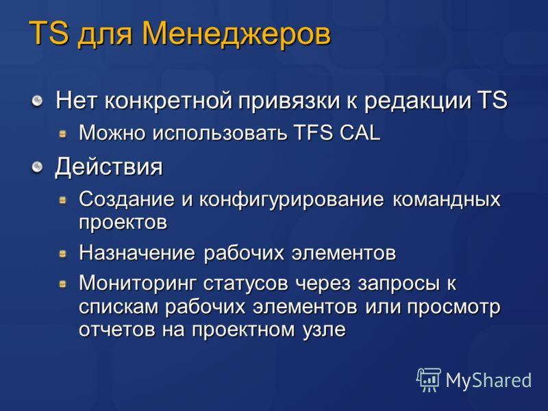 TS для Менеджеров Нет конкретной привязки к редакции TS Можно использовать TFS CAL Действия Создание и конфигурирование командных проектов Назначение рабочих элементов Мониторинг статусов через запросы к спискам рабочих элементов или просмотр отчетов