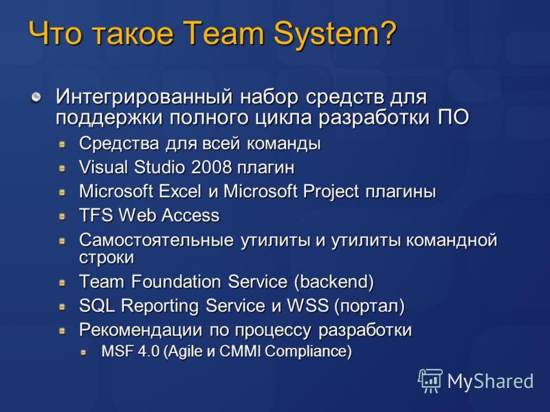Что такое Team System? Интегрированный набор средств для поддержки полного цикла разработки ПО Средства для всей команды Visual Studio 2008 плагин Microsoft Excel и Microsoft Project плагины TFS Web Access Самостоятельные утилиты и утилиты командной