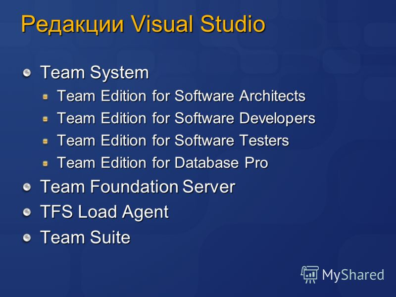 Редакции Visual Studio Team System Team Edition for Software Architects Team Edition for Software Developers Team Edition for Software Testers Team Edition for Database Pro Team Foundation Server TFS Load Agent Team Suite