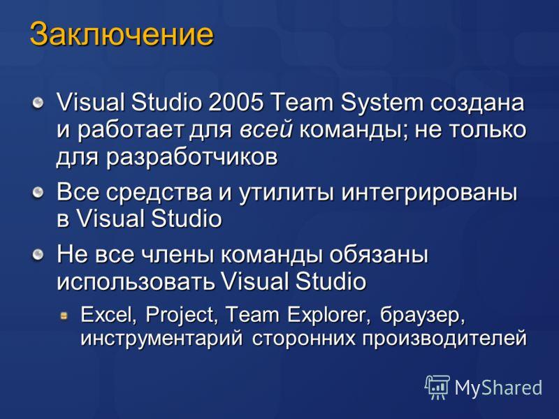 Заключение Visual Studio 2005 Team System создана и работает для всей команды; не только для разработчиков Все средства и утилиты интегрированы в Visual Studio Не все члены команды обязаны использовать Visual Studio Excel, Project, Team Explorer, бра