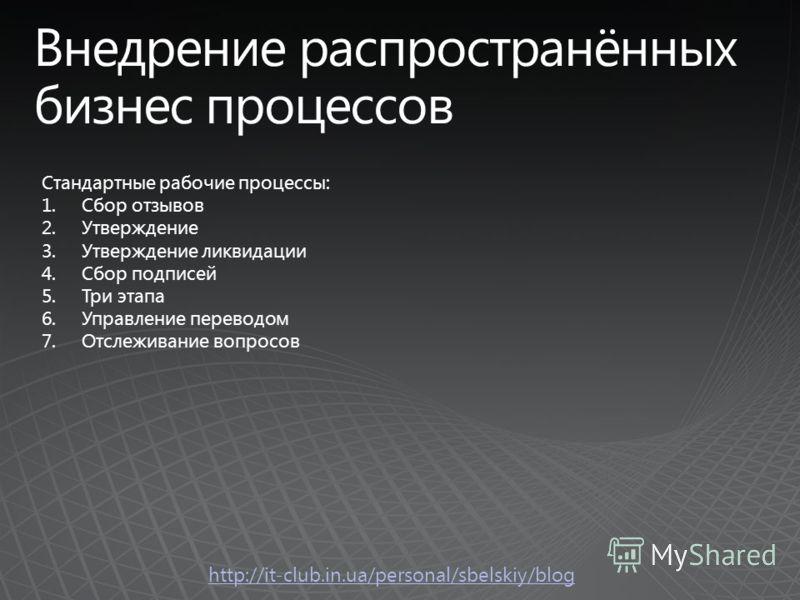 http://it-club.in.ua/personal/sbelskiy/blog Стандартные рабочие процессы: 1.Сбор отзывов 2.Утверждение 3.Утверждение ликвидации 4.Сбор подписей 5.Три этапа 6.Управление переводом 7.Отслеживание вопросов
