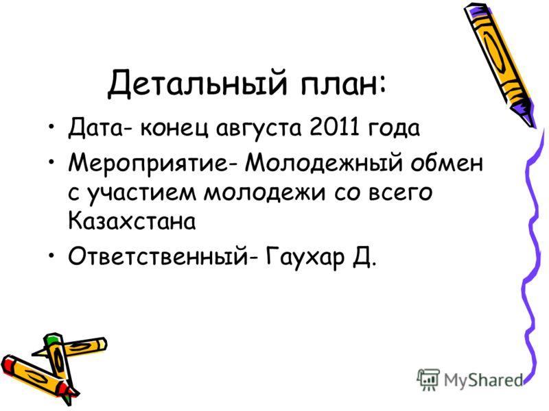 Детальный план: Дата- конец августа 2011 года Мероприятие- Молодежный обмен с участием молодежи со всего Казахстана Ответственный- Гаухар Д.