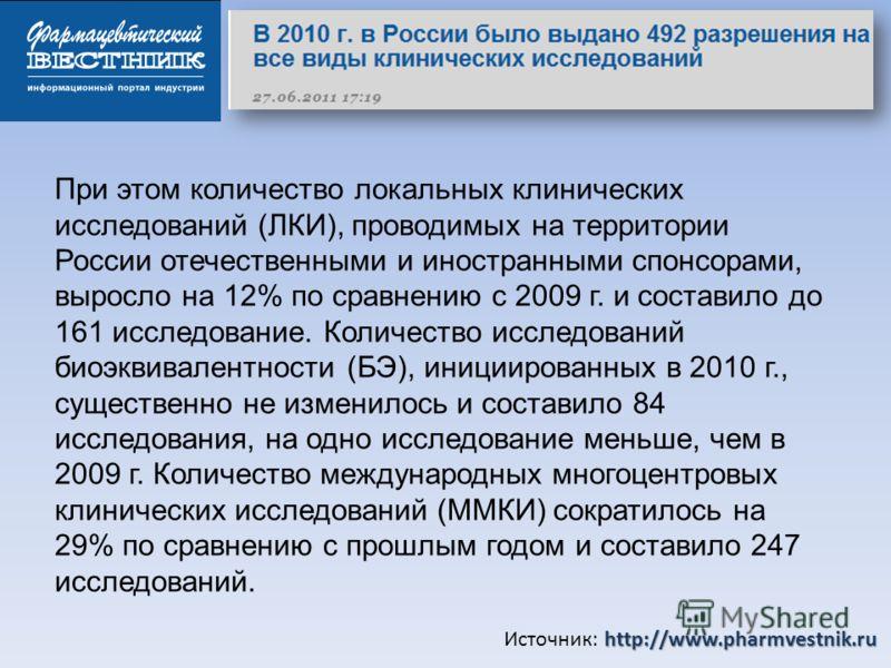 http://www.pharmvestnik.ru Источник: http://www.pharmvestnik.ru При этом количество локальных клинических исследований (ЛКИ), проводимых на территории России отечественными и иностранными спонсорами, выросло на 12% по сравнению с 2009 г. и составило