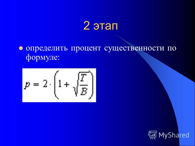 2 этап определить процент существенности по формуле: