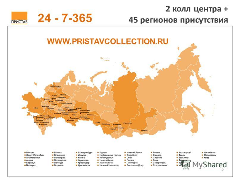 12 2 колл центра + 45 регионов присутствия WWW.PRISTAVCOLLECTION.RU 24 - 7-365