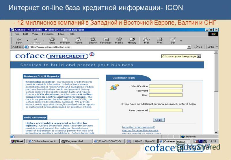 Интернет on-line база кредитной информации- ICON - 12 миллионов компаний в Западной и Восточной Европе, Балтии и СНГ.