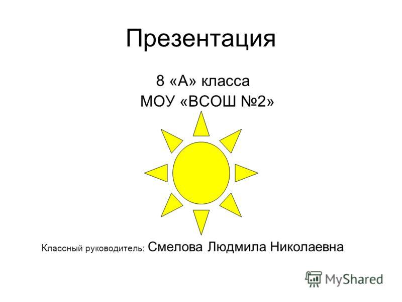 Презентация 8 «А» класса МОУ «ВСОШ 2» К лассный руководитель: Смелова Людмила Николаевна