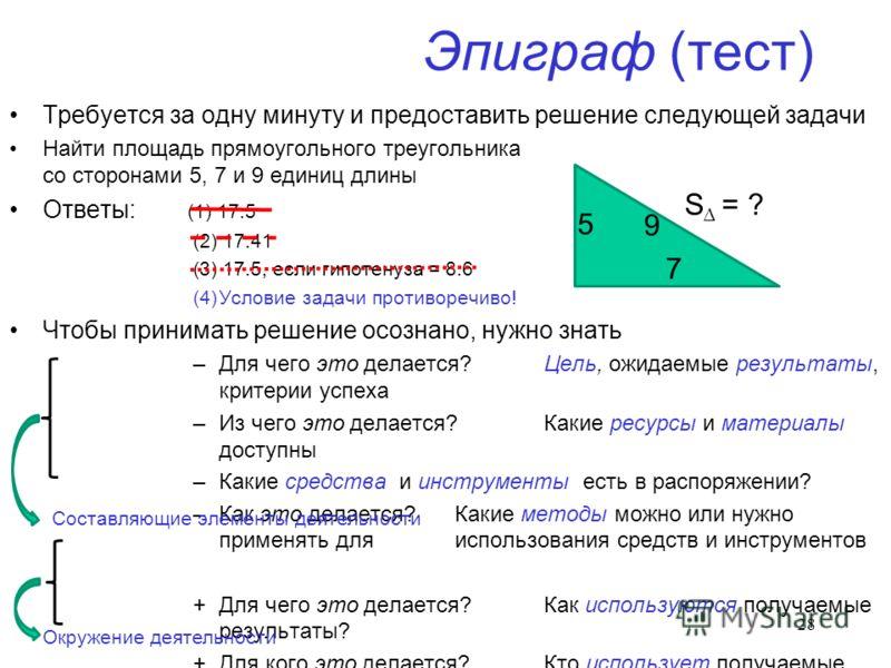 Эпиграф (тест) Требуется за одну минуту и предоставить решение следующей задачи Найти площадь прямоугольного треугольника со сторонами 5, 7 и 9 единиц длины Ответы: (1) 17.5 (2) 17.41 (3) 17.5, если гипотенуза = 8.6 (4)Условие задачи противоречиво! Ч