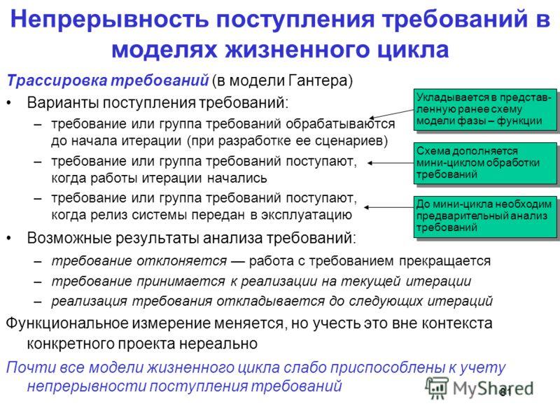 81 Непрерывность поступления требований в моделях жизненного цикла Трассировка требований (в модели Гантера) Варианты поступления требований: –требование или группа требований обрабатываются до начала итерации (при разработке ее сценариев) –требовани