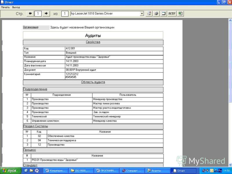 Задачи решаемые при автоматизации информации о внутренних аудитах СМК: Формирование отчетов об аудитах: