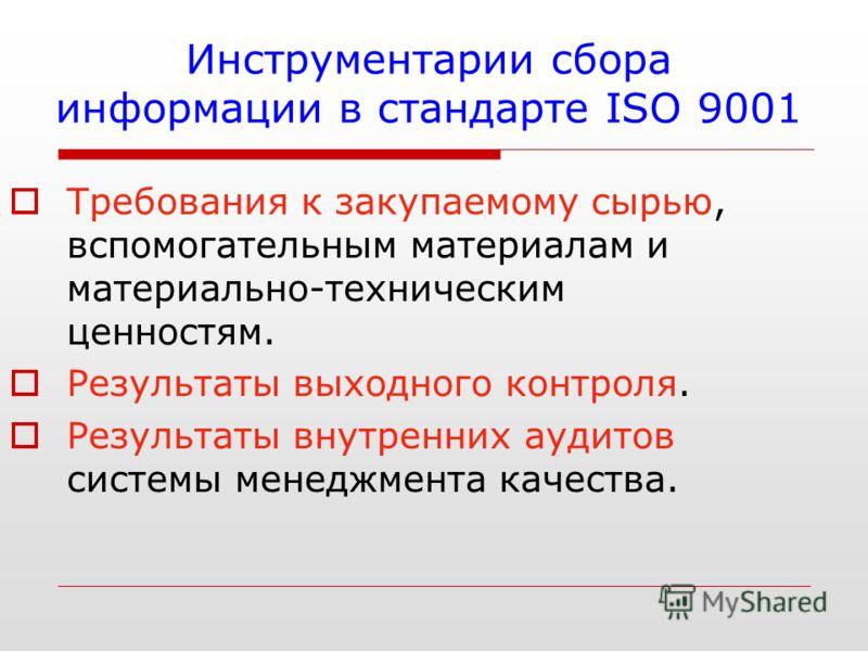 Инструментарии сбора информации в стандарте ISO 9001 Требования к закупаемому сырью, вспомогательным материалам и материально-техническим ценностям. Результаты выходного контроля. Результаты внутренних аудитов системы менеджмента качества.