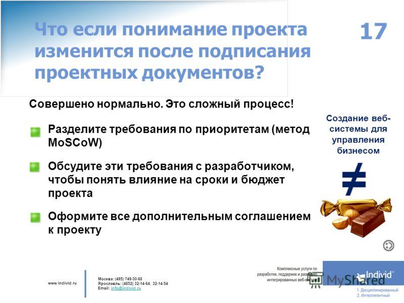 www.individ.ru Москва: (495) 749-30-68 Ярославль: (4852) 32-14-64, 32-14-54 Email: info@individ.ruinfo@individ.ru Совершено нормально. Это сложный процесс! 17 Что если понимание проекта изменится после подписания проектных документов? Создание веб- с