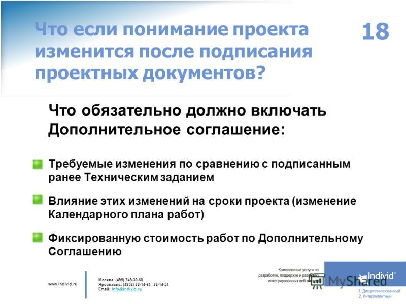 www.individ.ru Москва: (495) 749-30-68 Ярославль: (4852) 32-14-64, 32-14-54 Email: info@individ.ruinfo@individ.ru 18 Что если понимание проекта изменится после подписания проектных документов? Что обязательно должно включать Дополнительное соглашение