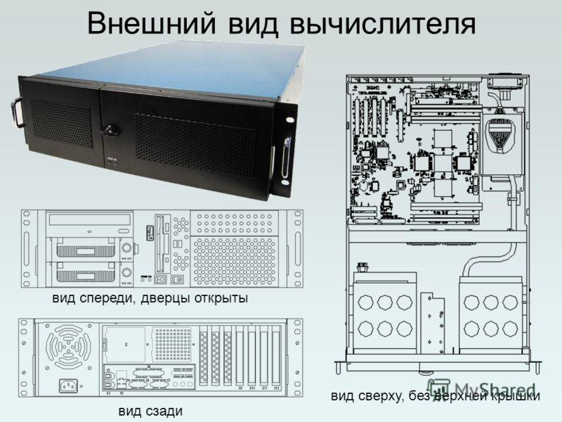Внешний вид вычислителя вид сверху, без верхней крышки вид спереди, дверцы открыты вид сзади