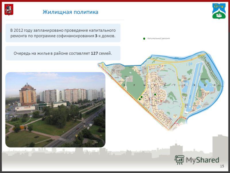15 Обеспеченность парковочными местами Менее 20 % 20-40 % 40-60 % 60-80 % Более 80 % Жилищная политика В 2012 году запланировано проведение капитального ремонта по программе софинансирования 3-х домов. Очередь на жилье в районе составляет 127 семей.