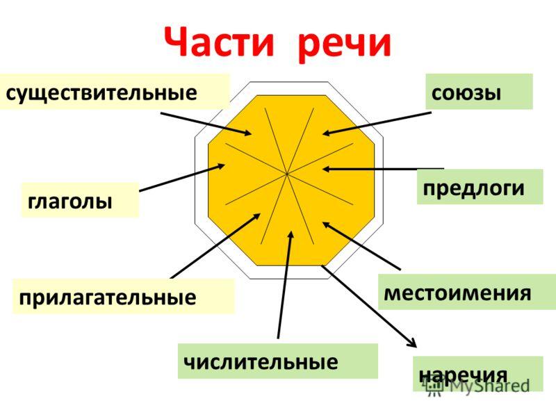 Части речи существительные прилагательные глаголы местоимения числительные предлоги союзы наречия