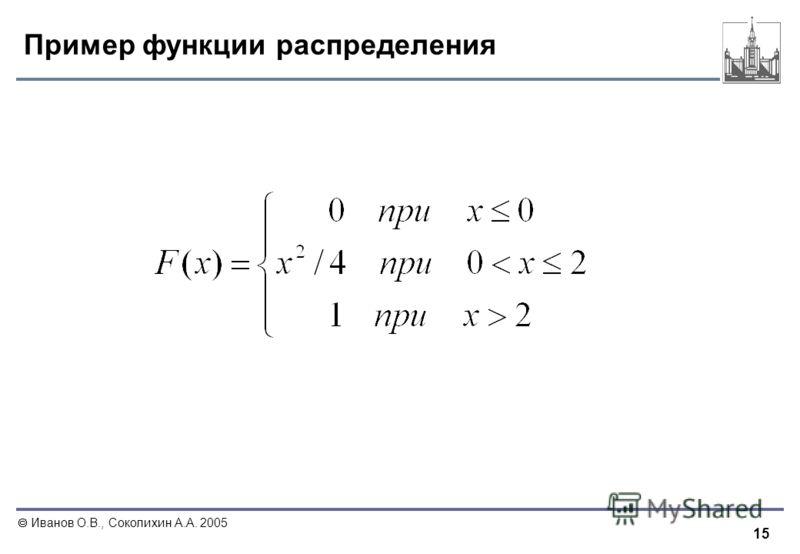 15 Иванов О.В., Соколихин А.А. 2005 Пример функции распределения