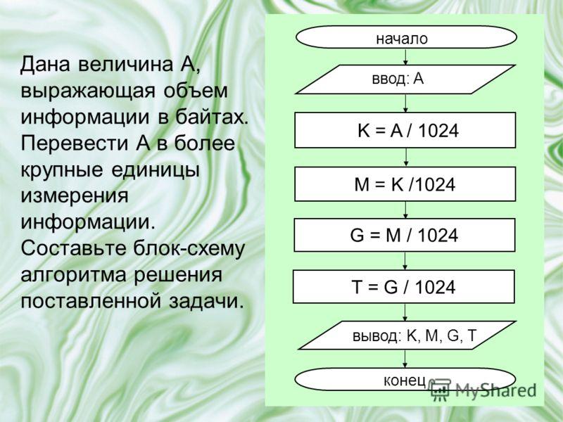 Дана величина A, выражающая объем информации в байтах. Перевести А в более крупные единицы измерения информации. Составьте блок-схему алгоритма решения поставленной задачи. начало ввод: A вывод: K, M, G, T конец K = A / 1024 M = K /1024 G = M / 1024