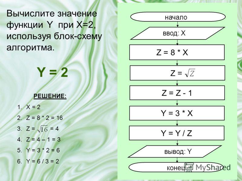 Вычислите значение функции Y при X=2, используя блок-схему алгоритма. начало ввод: X вывод: Y конец Z = 8 * X Z = Z - 1 Y = 3 * X Z = Y = Y / Z Y = 2 РЕШЕНИЕ: 1.X = 2 2.Z = 8 * 2 = 16 3.Z = = 4 4.Z = 4 – 1 = 3 5.Y = 3 * 2 = 6 6.Y = 6 / 3 = 2