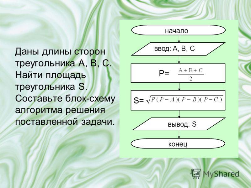 Даны длины сторон треугольника A, B, C. Найти площадь треугольника S. Составьте блок-схему алгоритма решения поставленной задачи. начало ввод: A, B, C вывод: S конец P= S=