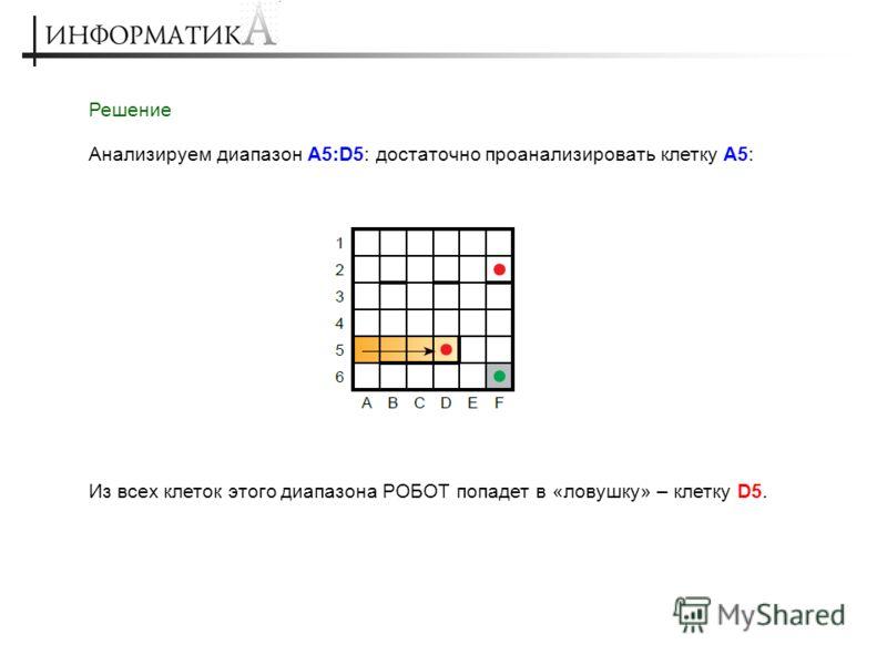 Решение Анализируем диапазон A5:D5: достаточно проанализировать клетку A5: Из всех клеток этого диапазона РОБОТ попадет в «ловушку» – клетку D5.