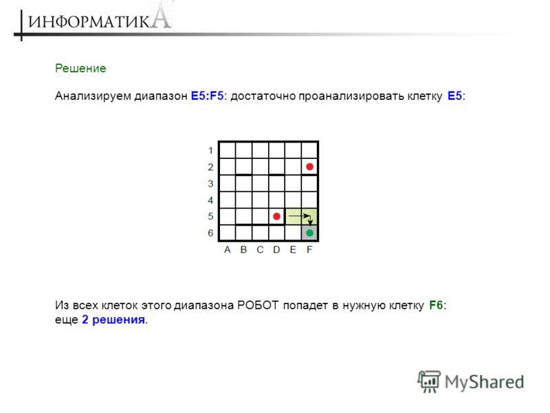 Решение Анализируем диапазон E5:F5: достаточно проанализировать клетку E5: Из всех клеток этого диапазона РОБОТ попадет в нужную клетку F6: еще 2 решения.