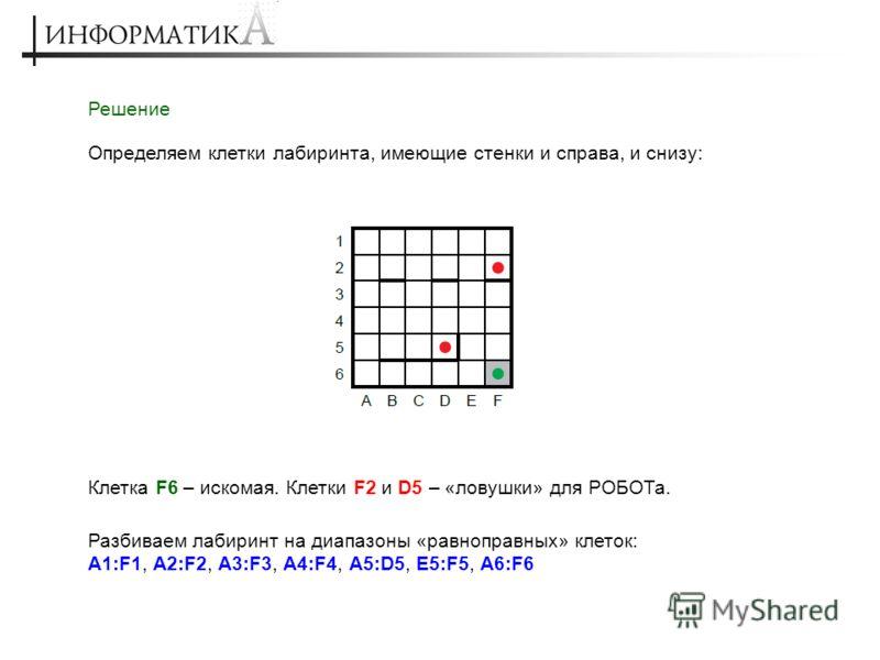 Решение Определяем клетки лабиринта, имеющие стенки и справа, и снизу: Клетка F6 – искомая. Клетки F2 и D5 – «ловушки» для РОБОТа. Разбиваем лабиринт на диапазоны «равноправных» клеток: A1:F1, A2:F2, A3:F3, A4:F4, A5:D5, E5:F5, A6:F6
