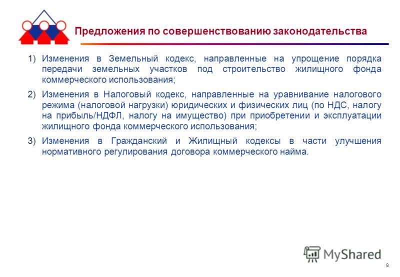 8 Предложения по совершенствованию законодательства 1)Изменения в Земельный кодекс, направленные на упрощение порядка передачи земельных участков под строительство жилищного фонда коммерческого использования; 2)Изменения в Налоговый кодекс, направлен