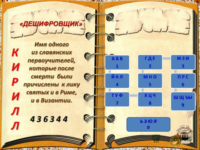 «ДЕШИФРОВЩИК» Имя одного из славянских первоучителей, которые после смерти были причислены к лику святых и в Риме, и в Византии. 4 3 6 3 4 4 КИРИЛЛ А Б В 1 Й К Л 4 Т У Ф 7 Х Ц Ч 8 М Н О 5 Г Д Е 2 Ж З И 3 П Р С 6 Ш Щ ЪЫ 9 Ь Э Ю Я 0
