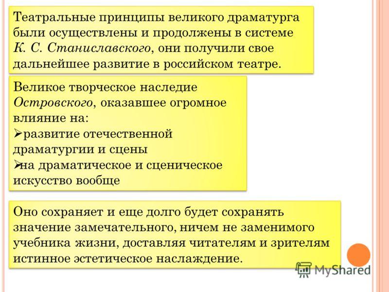 Театральные принципы великого драматурга были осуществлены и продолжены в системе К. С. Станиславского, они получили свое дальнейшее развитие в российском театре. Великое творческое наследие Островского, оказавшее огромное влияние на: развитие отечес