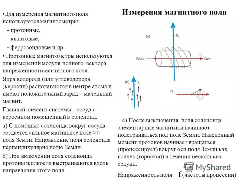 Для измерения магнитного поля используются магнитометры: - протонные, - квантовые, - феррозондовые и др. Протонные магнитометры используются для измерений модуля полного вектора напряженности магнитного поля. Ядра водорода (или углеводорода (керосин)