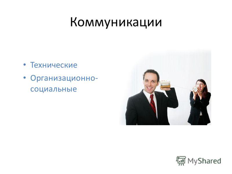 Коммуникации Технические Организационно- социальные
