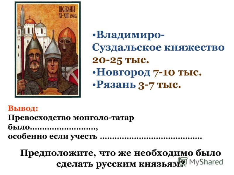 Владимиро- Суздальское княжество 20-25 тыс. Новгород 7-10 тыс. Рязань 3-7 тыс. Вывод: Превосходство монголо-татар было………………………, особенно если учесть …………………………………… Предположите, что же необходимо было сделать русским князьям?