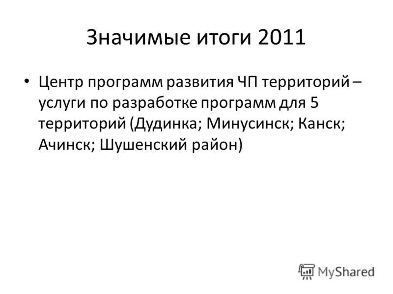 Значимые итоги 2011 Центр программ развития ЧП территорий – услуги по разработке программ для 5 территорий (Дудинка; Минусинск; Канск; Ачинск; Шушенский район)
