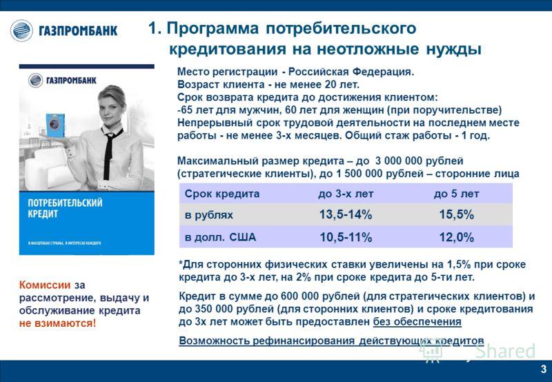 3 1. Программа потребительского кредитования на неотложные нужды Место регистрации - Российская Федерация. Возраст клиента - не менее 20 лет. Срок возврата кредита до достижения клиентом: -65 лет для мужчин, 60 лет для женщин (при поручительстве) Неп