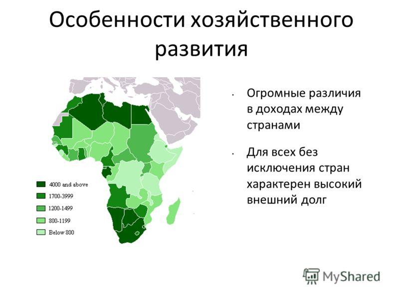 Особенности хозяйственного развития Огромные различия в доходах между странами Для всех без исключения стран характерен высокий внешний долг