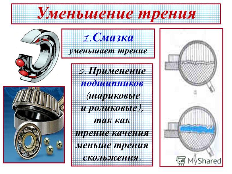 21 Уменьшение трения 1. Смазка уменьшает трение 2. Применение подшипников ( шариковые и роликовые ), так как трение качения меньше трения скольжения.