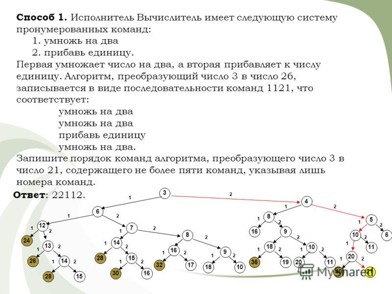 Способ 1. Исполнитель Вычислитель имеет следующую систему пронумерованных команд: 1. умножь на два 2. прибавь единицу. Первая умножает число на два, а вторая прибавляет к числу единицу. Алгоритм, преобразующий число 3 в число 26, записывается в виде