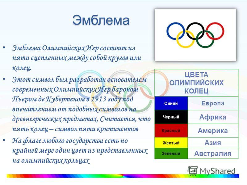 Эмблема Эмблема Олимпийских Игр состоит из пяти сцепленных между собой кругов или колец. Этот символ был разработан основателем современных Олимпийских Игр бароном Пьером де Кубертеном в 1913 году под впечатлением от подобных символов на древнегречес