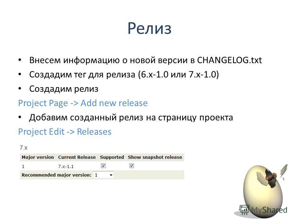 Внесем информацию о новой версии в CHANGELOG.txt Создадим тег для релиза (6.x-1.0 или 7.x-1.0) Создадим релиз Project Page -> Add new release Добавим созданный релиз на страницу проекта Project Edit -> Releases Релиз