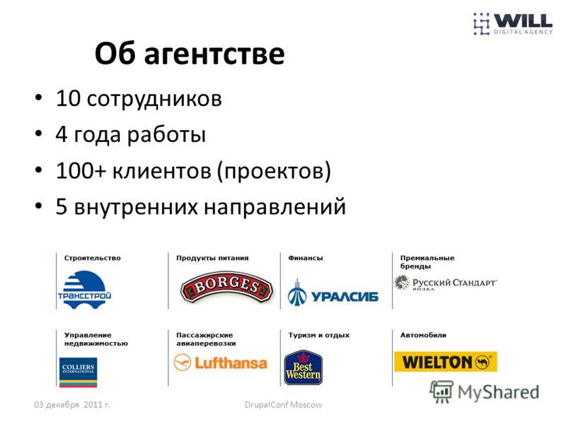 Об агентстве 10 сотрудников 4 года работы 100+ клиентов (проектов) 5 внутренних направлений 03 декабря 2011 г.DrupalConf Moscow