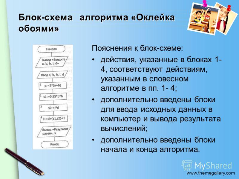 www.themegallery.com Блок-схема алгоритма «Оклейка обоями» Пояснения к блок-схеме: действия, указанные в блоках 1- 4, соответствуют действиям, указанным в словесном алгоритме в пп. 1- 4; дополнительно введены блоки для ввода исходных данных в компью