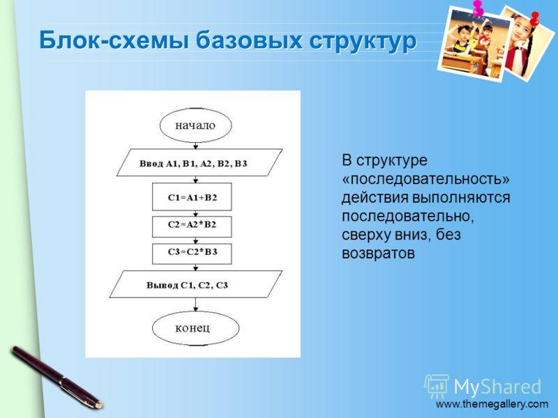 www.themegallery.com Блок-схемы базовых структур В структуре «последовательность» действия выполняются последовательно, сверху вниз, без возвратов