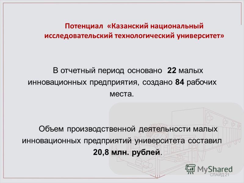 Потенциал «Казанский национальный исследовательский технологический университет» В отчетный период основано 22 малых инновационных предприятия, создано 84 рабочих места. Объем производственной деятельности малых инновационных предприятий университета