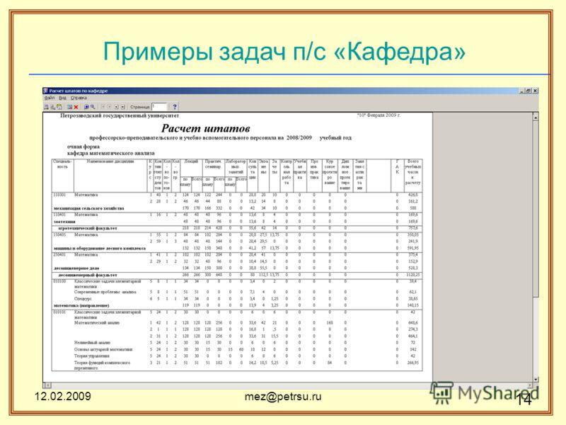 12.02.2009mez@petrsu.ru 14 Примеры задач п/с «Кафедра»