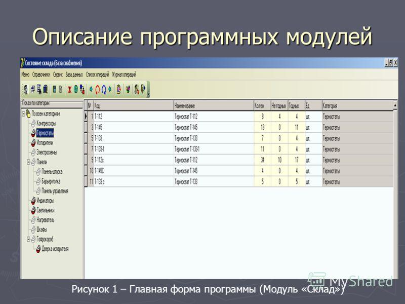 Описание программных модулей Рисунок 1 – Главная форма программы (Модуль «Склад»)